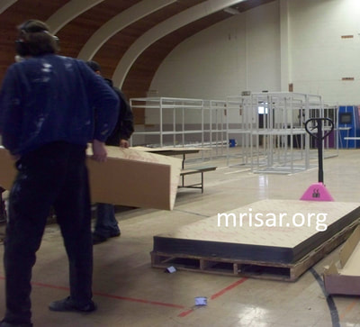 MRISAR Team members John Siegel and Michael Cook fabricating Robotic exhibits.