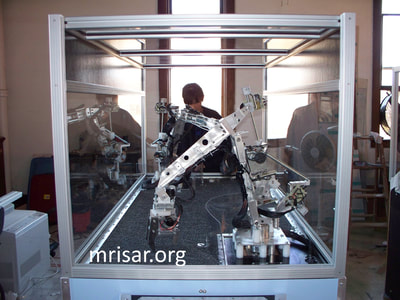 MRISAR's Team member Victoria Croasdell Siegel fabricating Robotic exhibits.