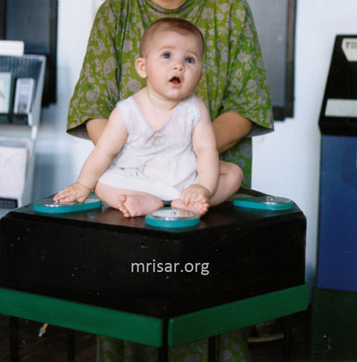 MRISAR's team member Aurora Siegel in 1995 testing our Pentiductor Exhibit. We have been making them since 1993.