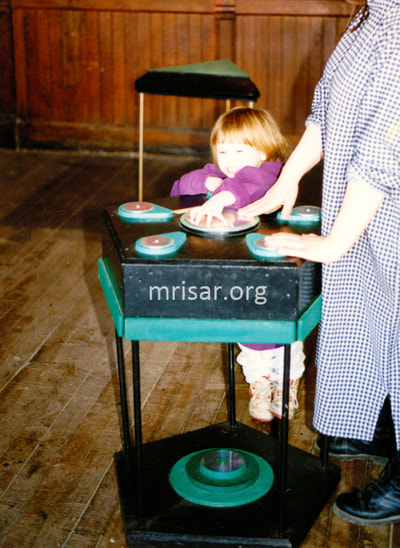 MRISAR's team member Autumn Siegel in 1995 testing our Pentiductor Exhibit. We have been making them since 1993.