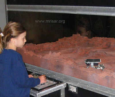 Simulator Planetary Robot. MRISAR's Planetary Probe Rover Exhibit. This exhibit relates to STEM education.