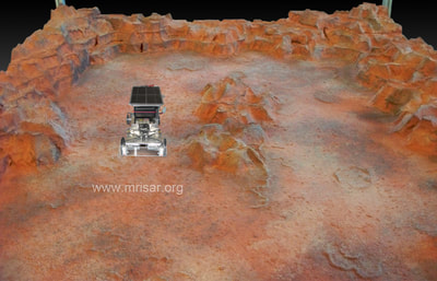 "MRISAR image during the fabrication and testing process of our Planetary Probe Exhibit! We also sell this as a kit. Our kits have been incorporated into other company's cases; including the traveling exhibition ""POPnology"" and a NASA funded exhibition.  We have been making exhibit robotics since 1991."
