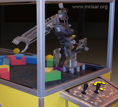 Robotic Exhibits; MRISAR's Dual Combo 3 & 5 Finger Robotic Arm Exhibit. MRISAR has designed and fabricated the earth's largest selection of world-class, public use, interactive robotic exhibits.