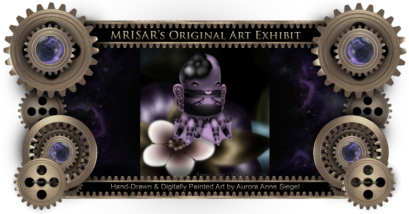 Purple Octo-Bee; This is an Original Hand-drawn and Digitally Painted Art piece by Aurora Anne Siegel, an awarded, published and exhibited; multi-disciplined artist, photographer, writer and engineer. She is also a member of MRISAR's R&D Team.  She has been creating quality art since she was a preschooler. Her favorite art subject is anthropomorphic animals and insects  , set in surreal environments. She drew this piece at the age of 13. Most of her original works have two different versions, a standard version and an interactive version, both of which are included in MRISAR's traveling exhibitions. Additionally some of these two different versions are for sale and come in 3 forms: 1- as a one-of-a-kind piece; 2- as limited edition pieces; 3- as unlimited pieces.