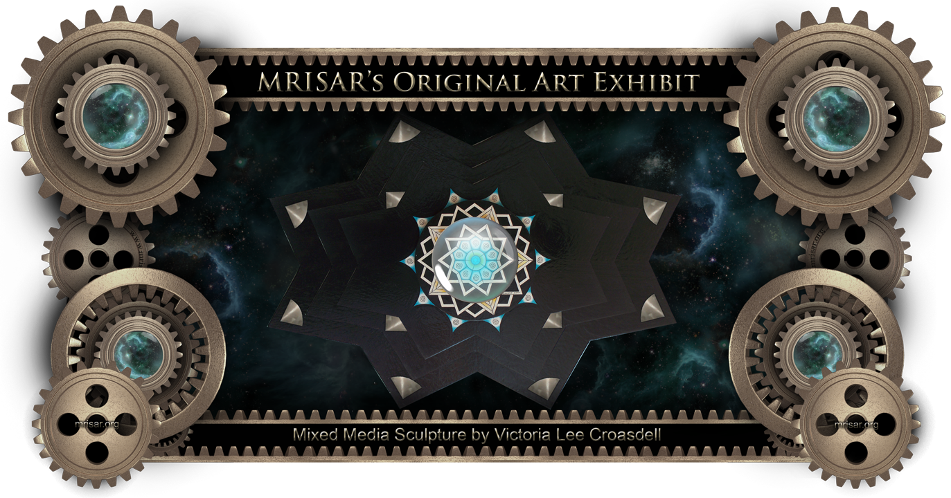 Star Mandala; This is an Original Abstract Mixed Media Wall Hanging Sculpture by Victoria Lee Croasdell, an awarded, published and exhibited; multi-disciplined artist, photographer, writer, poet and engineer. She is also a member of MRISAR's R&D Team. She is the primary designer of all MRISAR graphic headers, exhibit display borders (like the one above), exhibition graphic panels and graphic design details on our robotic and science exhibits.   This art piece is several layers deep and is made of a combination of hand cut aluminum pieces, hand cut M.D.O. pieces, cast acrylic and hand painted with acrylic designs. Original size 36