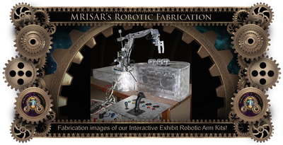 MRISAR's Exhibit Fabrication ​Images for Custom, 3 Finger, & 5 Finger Robotic Arm Exhibit Kits!