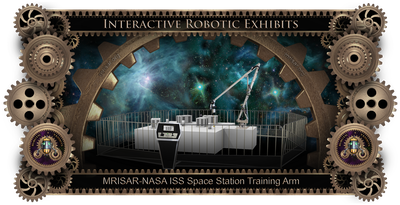 "Exhibit Fabrication Images of MRISAR-NASA Simulator; ISS Space Station, 17'.5"" long Robot Arm"