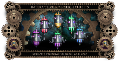 MRISAR's Exhibit Fabrication ​Images for the Chibi-chan; Rail Guided Talking Robot Host!