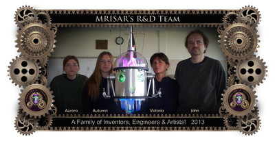 MRISAR's R&D Family Team Members;  Aurora Siegel, Autumn Siegel, John Siegel and Victoria Croasdell. Shown with Chibi-chan an interactive rail robot they created. 2013.
