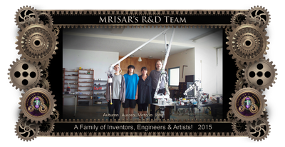 "MRISAR's R&D Family Team Members; Aurora Siegel, Autumn Siegel, John Siegel and Victoria Lee Croasdell. 2015. The team is shown with their interactive MRISAR-NASA ISS Space Station 17'.5"" long Robot Arm. It was specially commissioned for NASA, for ISS Space Station Exhibitions in Space Camps at the US Space & Rocket Center & Space Center Houston at Johnson Space Center."