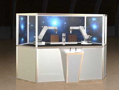 Simulator Space Robotics. MRISAR's Simulator Space Dual Robotic Arms Work Station. This exhibit relates to STEM education. Line of Sight Side.