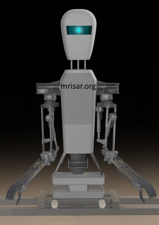 Space Exhibit; Space Station Module Simulator with Interactive, Interchangeable Elements by MRISAR. Humanoid Telepresence Repair Robot with two dexterous robotic arms. Part of a Space Exhibit.