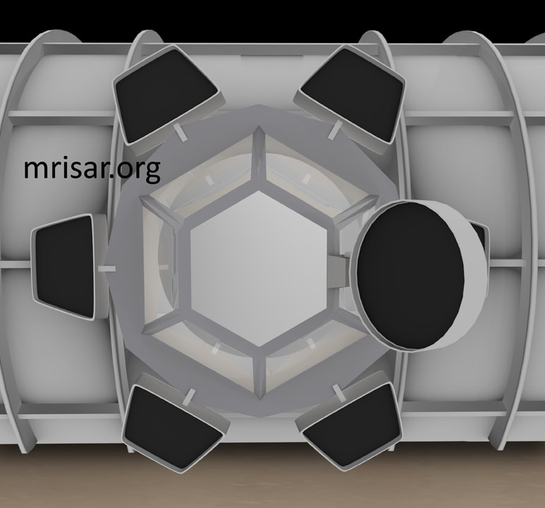 Space Exhibit; Space Station Module Simulator with Interactive, Interchangeable Elements by MRISAR. View of the cupola window modular with shutters for the Space Exhibit; Space Station Module Simulator.