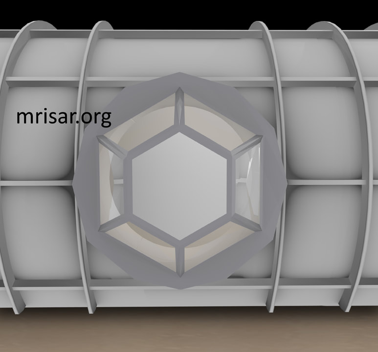 Space Exhibit; Space Station Module Simulator with Interactive, Interchangeable Elements by MRISAR. View of the cupola window modular for the Space Exhibit; Space Station Module Simulator.