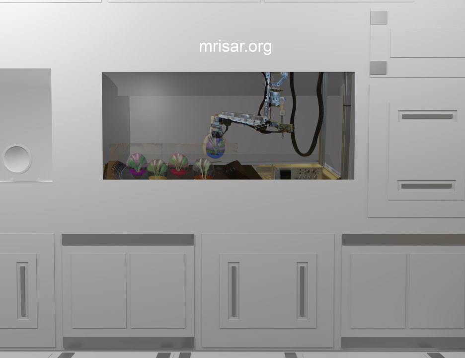 Space Exhibit; Space Station Module Simulator with Interactive, Interchangeable Elements by MRISAR. The Space Station Farming Robotic Simulator for the Space Exhibit; Space Station Module Simulator.